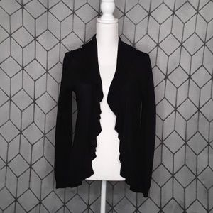 Loft Black Ruffle Hem Open Cardigan Sweater